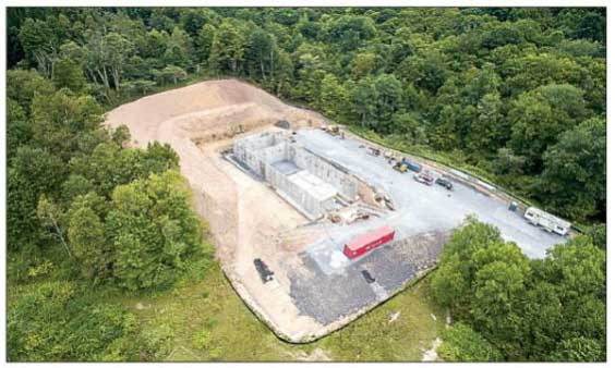 AERIAL PHOTOGRAPH OF the new Snowshoe/Linwood wastewater treatement plant currently under construction near the base of Snowsheo Drive. Photo courtesy of Walter Scriptunas